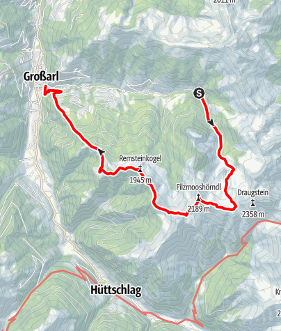 Map / Grossarl: Filzmoosalm - Filzmoossattel - Remsteinkopf - Bichlalm