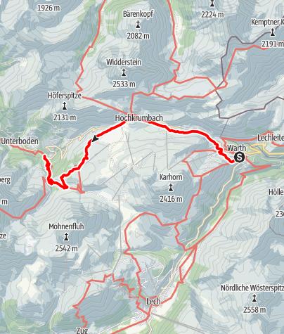 Karte / Von Warth über den Hochtannbergpass und Körbersee nach Schröcken