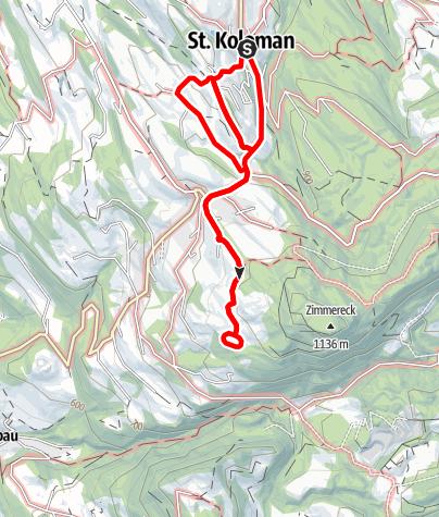 Karte / St. Koloman: Rundweg Dorf - Wegscheid - Windhagbauer