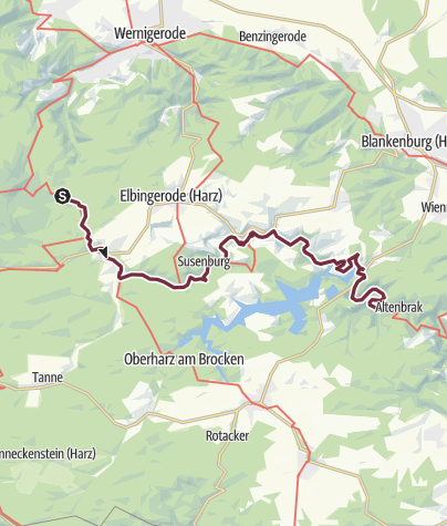 Karte / Harzer-Hexen-Stieg - 4. Etappe Nordvariante - von Drei Annen Hohne über Rübeland nach Altenbrak