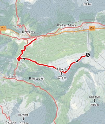 Karte / Sonnenkopf - Muttjöchle - Kristbergsattel - Dalaas
