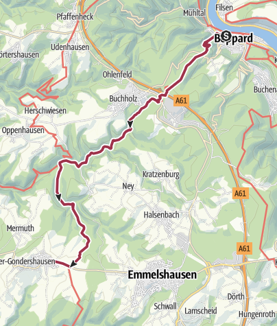 Karte / Hunsrückhöhenweg 01. Etappe: Boppard - Gondershausen
