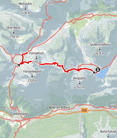 Karte / Gehrengrat vom Spullersee zum Formarinsee