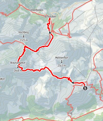 Karte / Braunarlüberschreitung von Oberlech nach Schröcken