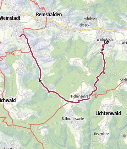 Karte / Wanderung durch den Schurwald nach Beutelsbach