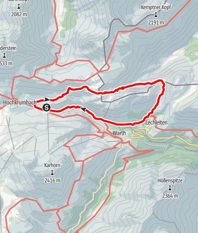 Karte / Haldenwanger Egg, Trifthütte, Schrofenpass, Gehren, Rauhgehren, Jägeralpe