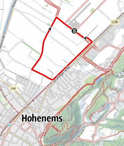 Karte / Barrierefrei: Emser Himmelsnähe – Rundwanderung am Flugplatz Hohenems