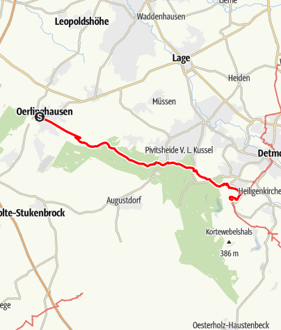 Kaart / Hermannshöhen - Etappe 08 van Oerlinghausen naar het Hermannsmonument