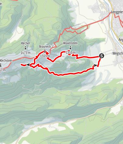 Karte / Bergtour von Lenggries auf das Brauneck über Kotalm