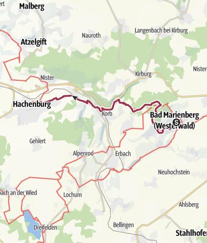 Map / Westerwald-Steig Stage 8: Bad Marienberg - Hachenburg (East - West)