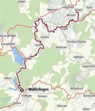 Map / Westerwald-Steig Stage 6: Freilingen - Nistertal (East - West)