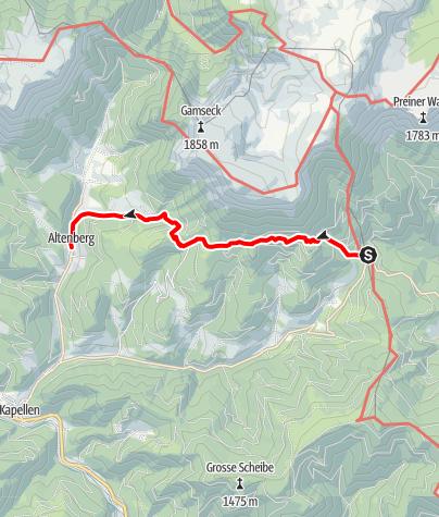 Karte / Wanderung zum Altenbergerhof über Almgasthof Moassa (vom Preiner Gscheid)