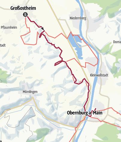 Karte / Fränkischer Rotwein Wanderweg - 2. Etappe von Großostheim nach Elsenfeld