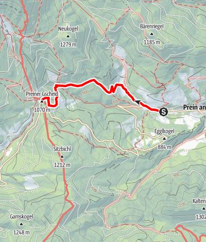 Karte / Wanderung zur Edelweißhütte (von Prein/Rax)