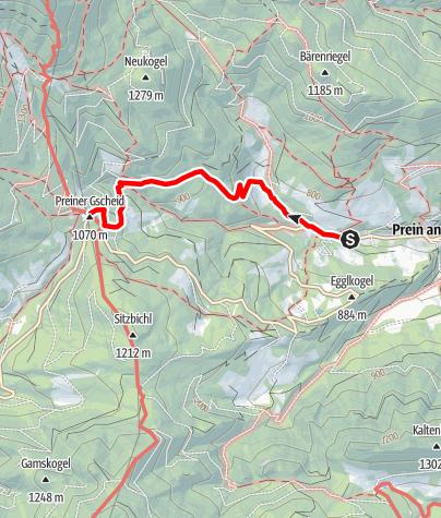 Map / Wanderung zur Edelweißhütte (von Prein/Rax)