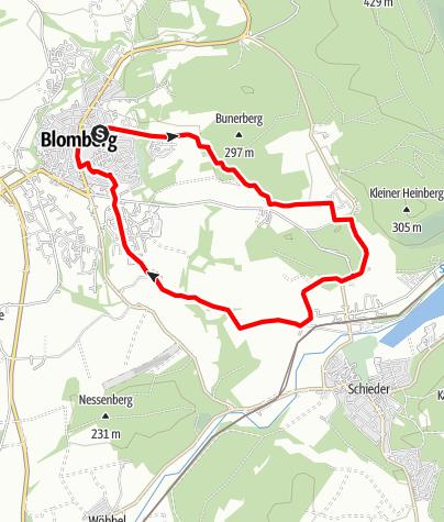 Karte / Rundwanderung  durch den Blomberger Stadtwald - Blomberg (Zubringer 5 + 6 + Nelkenweg-Rundweg)
