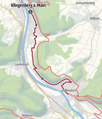 Karte / Fränkischer Rotwein Wanderweg - 5. Etappe von Klingenberg nach Großheubach