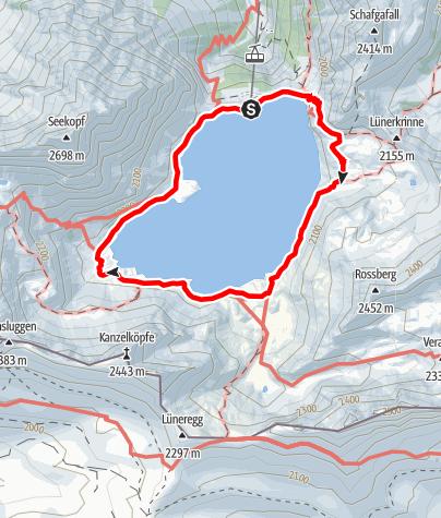 Karte / Wege zum Wasser: Spiegelbild im See – Lünersee im Rätikon