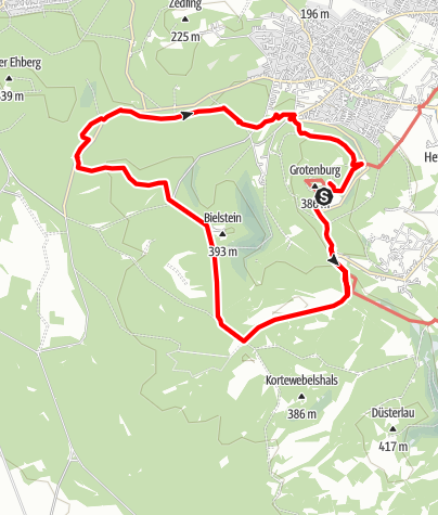 Kaart / Wandern mit Kultur: Hermannsdenkmal > Dreiflussstein > Bielstein > Heidental (Rundweg)