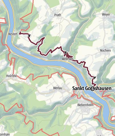 Map / Rheinsteig Stage 8: St. Goarshausen - Kestert (South - North)