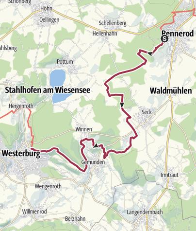 Kaart / Westerwald-Steig - 4e etappe: Rennerod - Westerburg (oost-west)