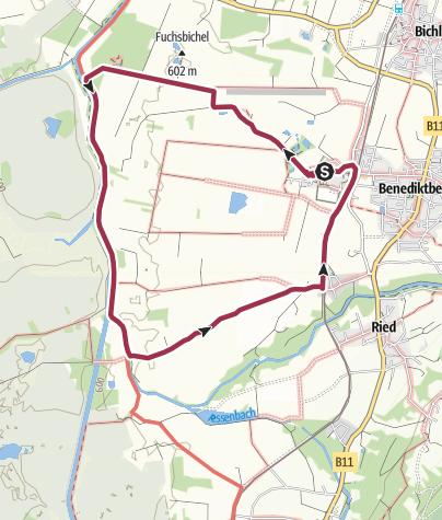 Karte / Benediktbeurer Moosrunde (Moosrundweg 1) - DERZEIT IM BEREICH DER LOISACH KOMPLETT GESPERRT!!!