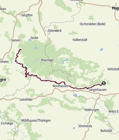 Karte / Karstwanderweg Südharz   mit der Südvariante im Landkreis Göttingen