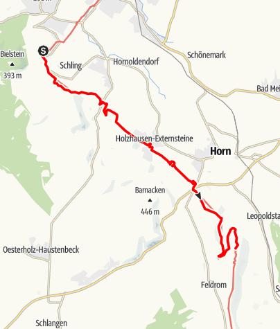 Kaart / Hermannshöhen - Etappe 09 van het Hermannsmonument via de Externsteine naar Leopoldstal