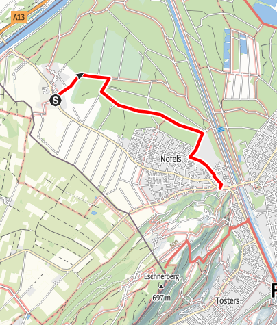 Karte / Barrierefrei: Ried und Auwald – Zwischen Bangs und Nofels