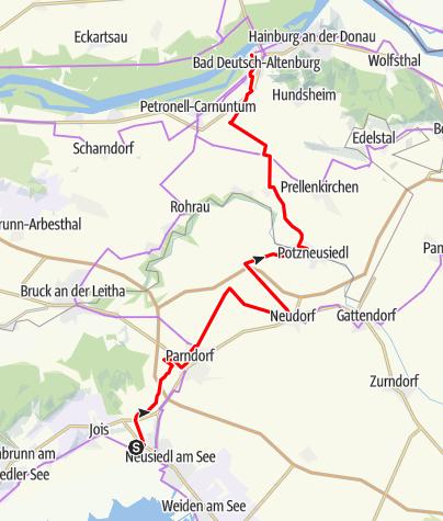 """Karte / Verbindungsradweg Donau """"Neusiedl am See bis Bad Deutsch-Altenburg"""""""