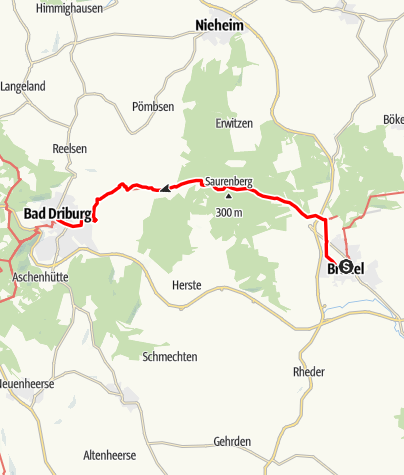 Kaart / Jakobsweg - Etappe von Brakel bis Bad Driburg