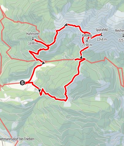 Karte / Rundweg Schloss Kaiserau: Lahngangkogel (1.778 m, Klinkehütte (1.504 m), Admonter Kalbling(2.196 m) mit Sparafeld (2.247 m), Riffel (2.106 m), Kreuzkogel (2.011 m), Hahnstein (1.697 m)