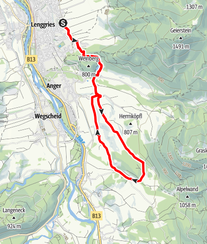 "Karte / AOK-Nordic Walking Parcours Lenggries ""Fitness Route 6"""