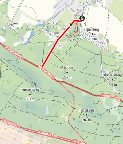Kaart / Zugangsweg Hermannshöhen: Lage-Hörste