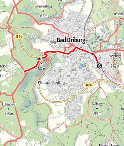 Kaart / Zugangsweg Hermannshöhen: Bad Driburg