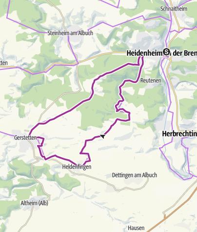 Karte / KliffTour -  vom Brenztal auf die Gerstetter Alb