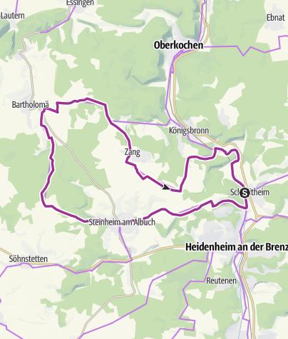 Karte / Meteor & Wälder - vom Brenztal auf den Albuch
