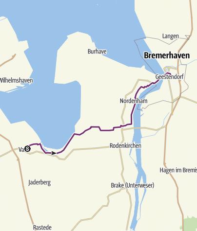 Karte / Schleifenroute DE Varel - Bremerhaven Etappe 128