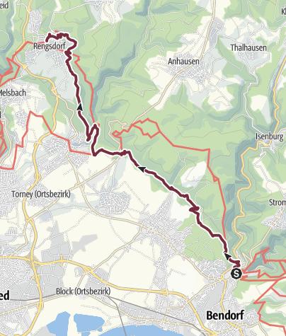 Karte / Rheinsteig 15. Etappe Sayn - Rengsdorf (Süd-Nord)