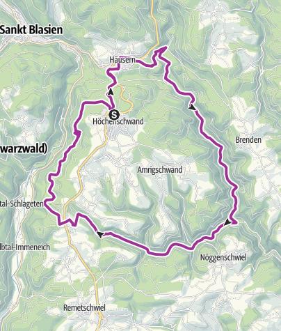 Karte / Höchenschwand: Fahrradweg entlang der Flusslaeufe