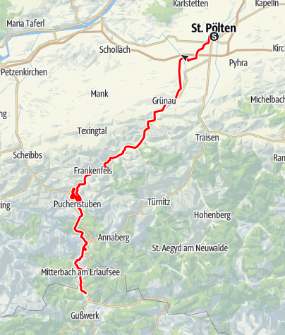 Karte / Mariazellerbahn (St. Pölten - Mariazell)