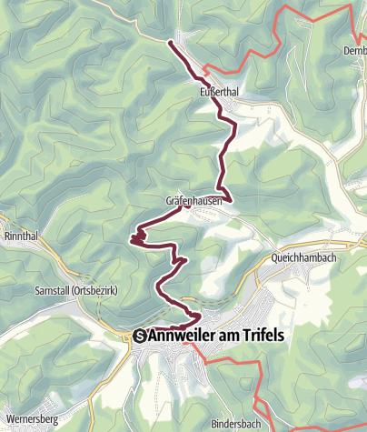 Kaart /  04 Annweiler - Von Platz Nr. 4 in Annweiler zum Platz Nr. 5 nach Eußerthal