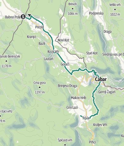 Mapa / Via Dinarica HR-W-01 Prezid - Čabar - Tršće