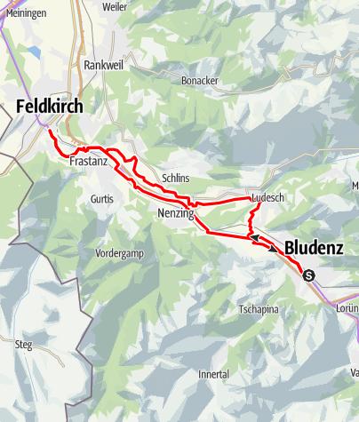 Karte / Walgau Radweg   Walgau