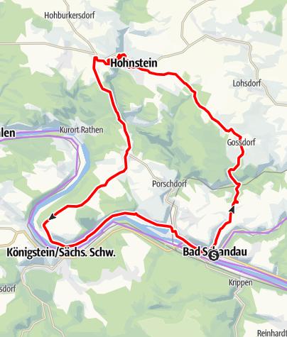 Karte / Zur Burg Hohnstein und dem Lilienstein