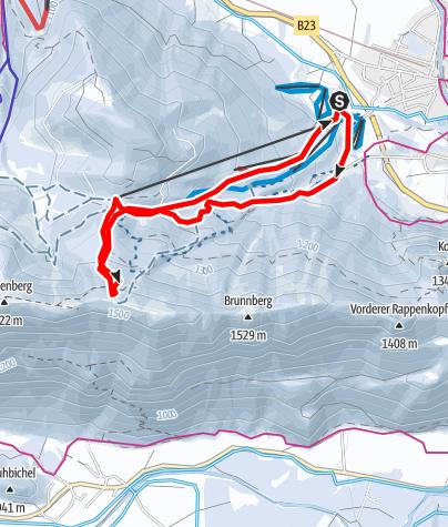 Map / Ski tour - on the Zahn via the Kolbensattel Hut