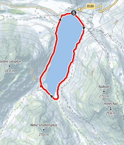 Kaart / Um den Silvretta-Stausee