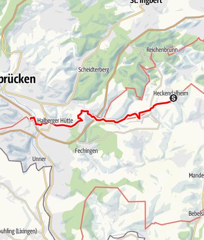 Karte / Jakobsweg-Etappe Heckendalheim bis St. Arnual (Nordroute)