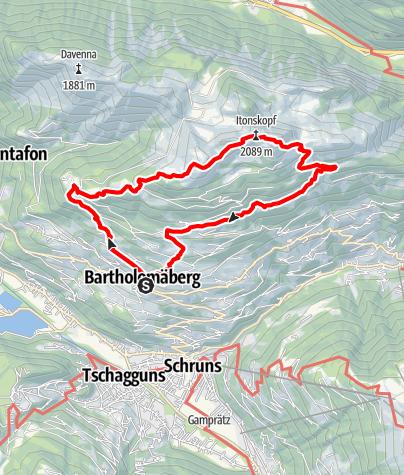 Kaart / Übers Rellseck auf den Itonskopf (2089 m)