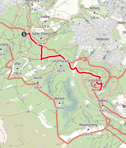 Kaart / Vom Donoper Teich zum Hermannsdenkmal